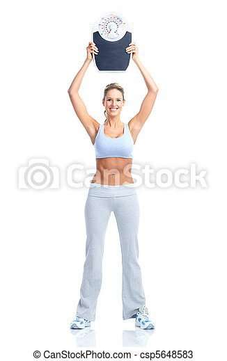 woman with a weight scale - csp5648583
