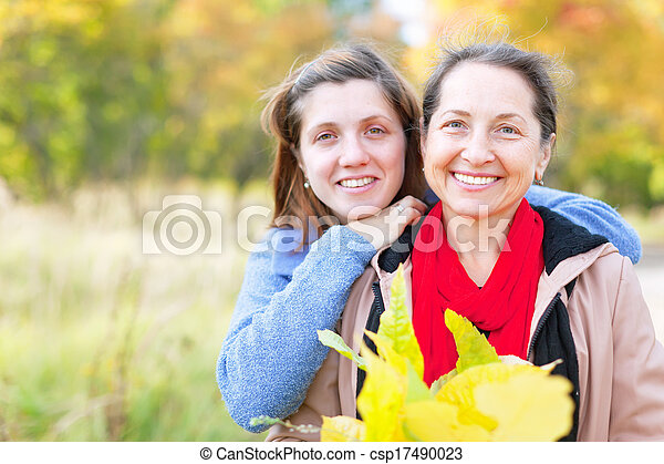 woman with adult daughter in autumn   - csp17490023