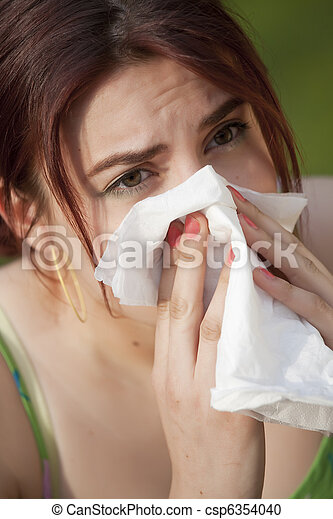 woman with allergy sneezing - csp6354040