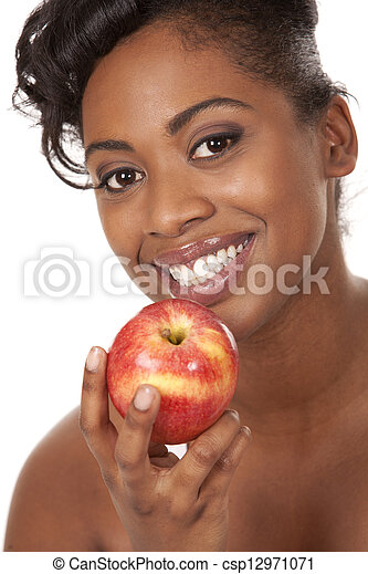 woman with an apple - csp12971071