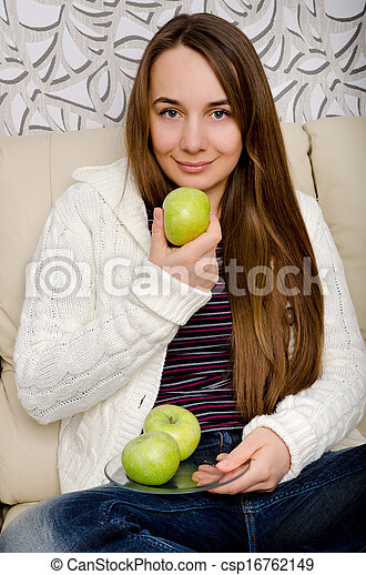 woman with apple - csp16762149