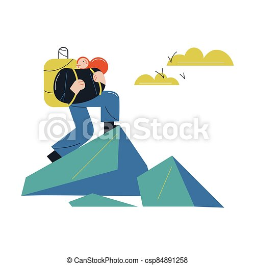 Woman with backpack hiking and climbing natural hills and mountains - csp84891258
