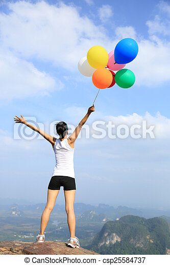 woman with balloons - csp25584737