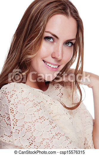 Woman with beauty long brown hair - posing at studio - csp15576315