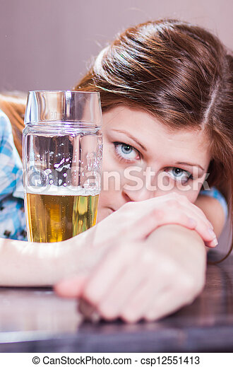 woman with beer - csp12551413