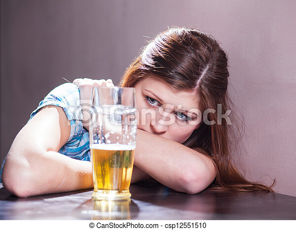 woman with beer - csp12551510