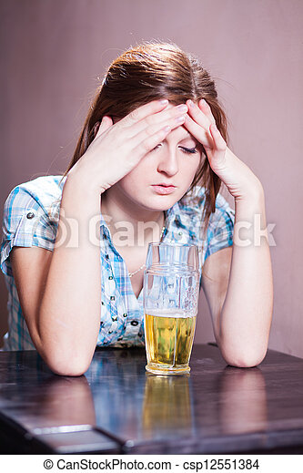 woman with beer - csp12551384