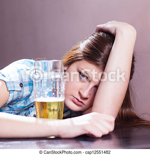 woman with beer - csp12551482