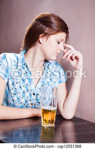 woman with beer - csp12551368