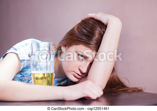 woman with beer - csp12551461