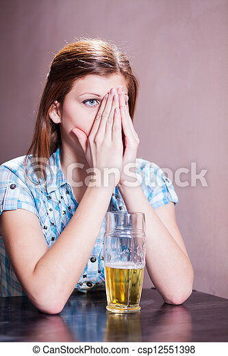 woman with beer - csp12551398