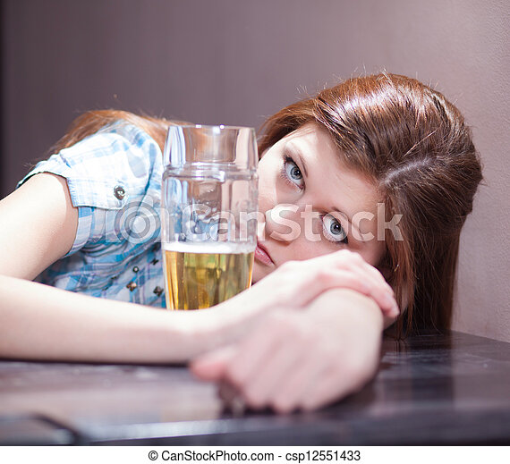 woman with beer - csp12551433