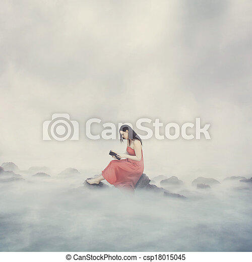 Woman with Bible in clouds. - csp18015045