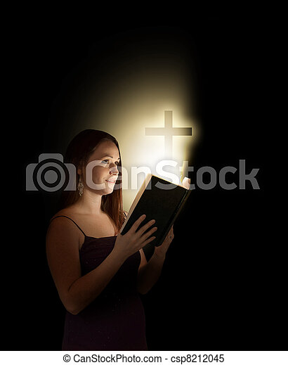 Woman with bible - csp8212045