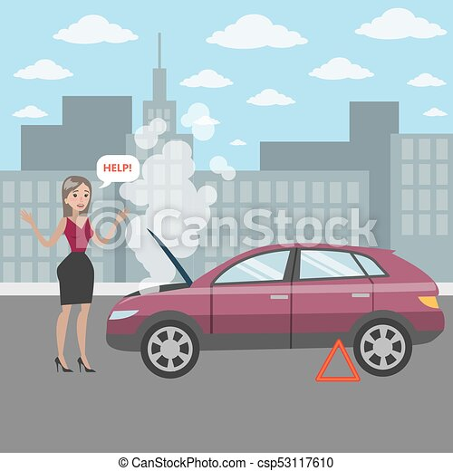 woman with broken car woman with broken car s engine asking for