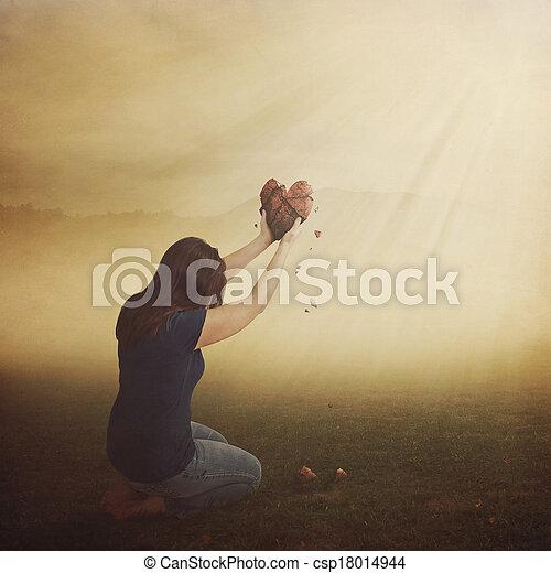 Woman with broken heart. - csp18014944