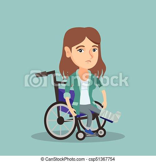Woman with broken leg sitting in a wheelchair. - csp51367754