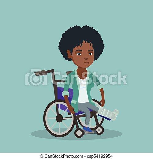 Woman with broken leg sitting in a wheelchair. - csp54192954