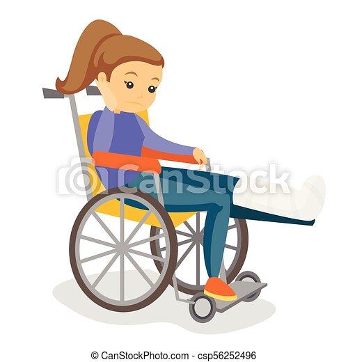 Woman with broken leg sitting in a wheelchair. - csp56252496