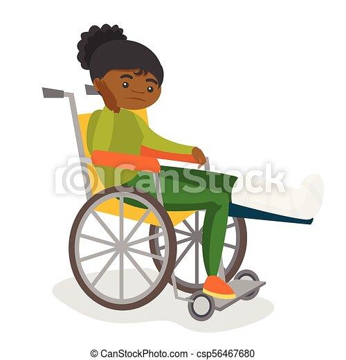 Woman with broken leg sitting in a wheelchair. - csp56467680