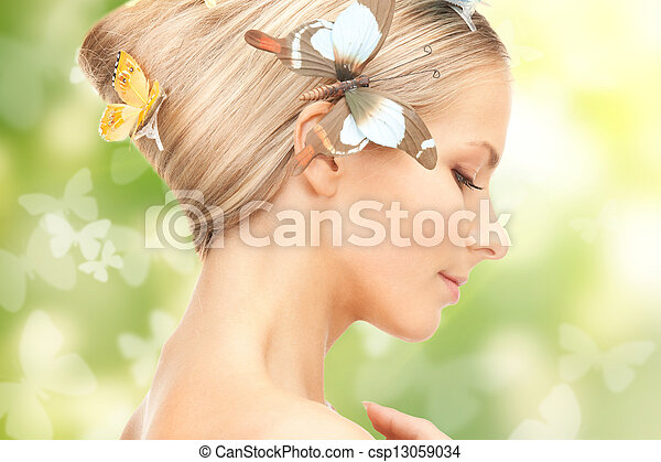 woman with butterflies in hair - csp13059034