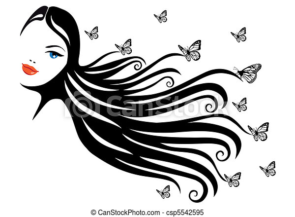 woman with butterfly - csp5542595