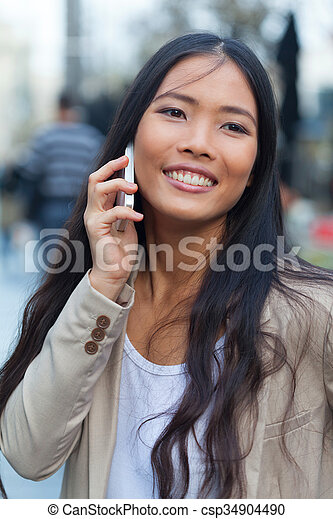Woman with cellphone - csp34904490