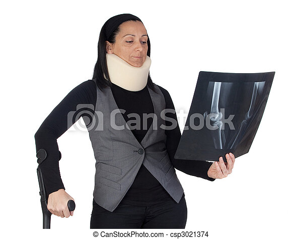 Woman with cervical collar and radiography - csp3021374