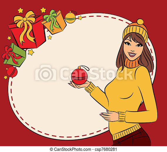 woman with Christmas gift - csp7680281