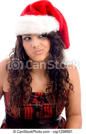 woman with christmas hat making face - csp1298891