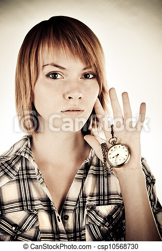 woman with clock - csp10568730
