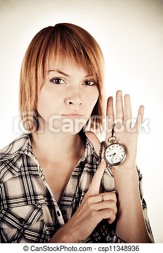 woman with clock - csp11348936