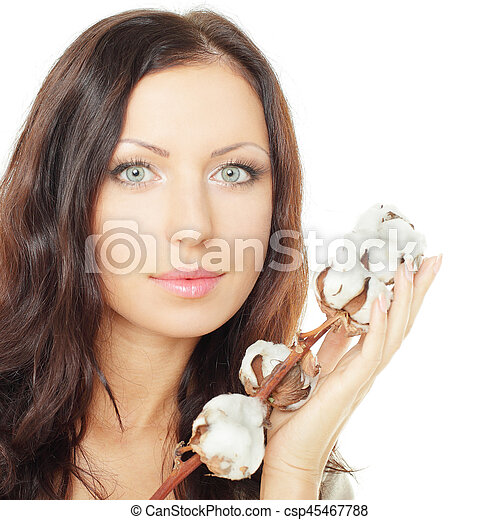 Woman with cotton on white background - csp45467788