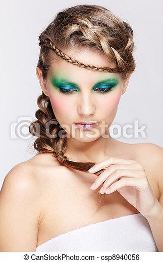woman with creative hairdo - csp8940056