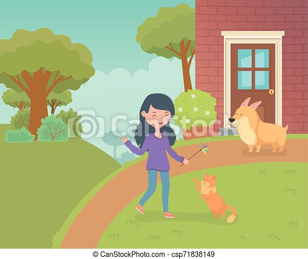 woman with cute little cat and dog in the house garden - csp71838149