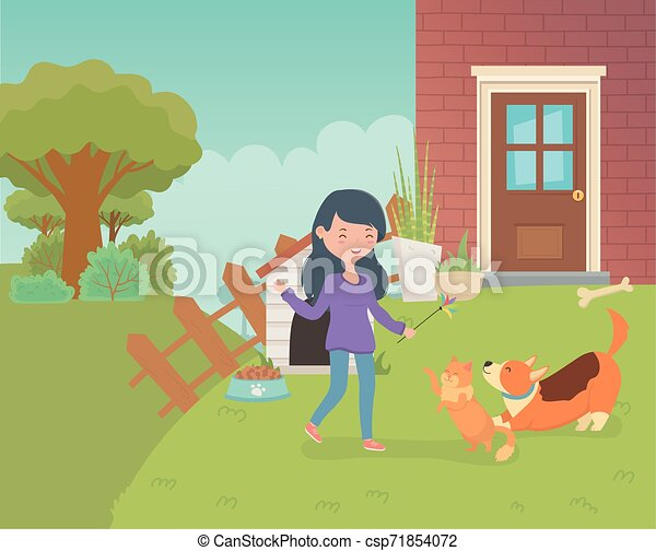 woman with cute little cat and dog in the house garden - csp71854072