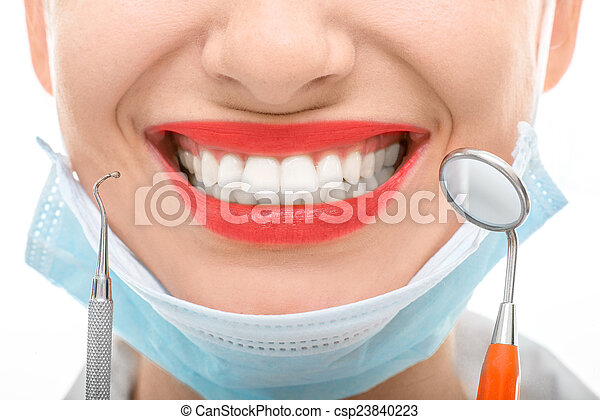 Woman with dental mirror on white background - csp23840223