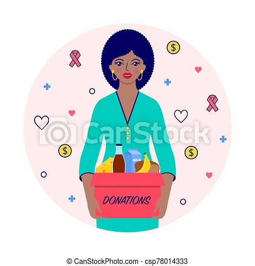 woman with donations - csp78014333