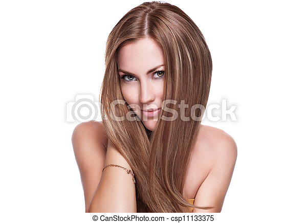 woman with elegant long shiny hair - csp11133375