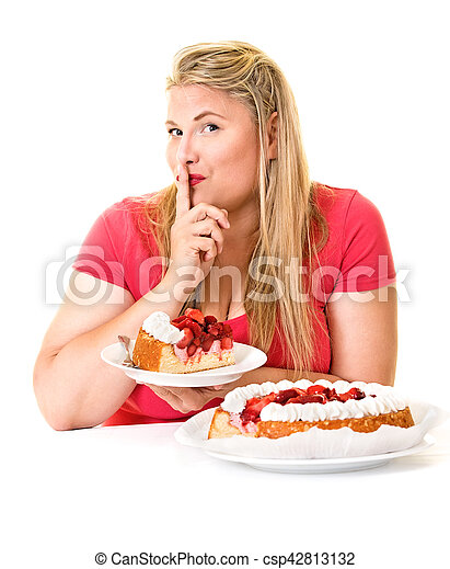 Woman with finger to lips and cream cakes - csp42813132