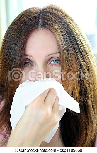 Woman with flu or allergy - csp1109660
