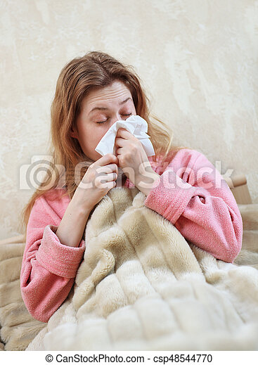 Woman with flu - csp48544770
