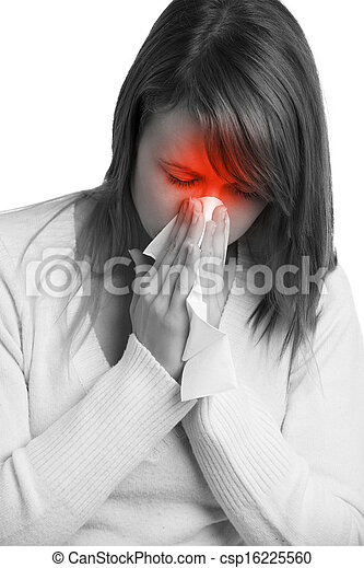 Woman with flu sneezing - csp16225560