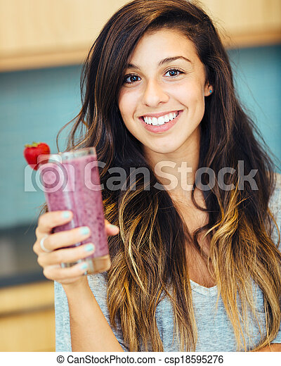Woman with Fruit smoothie - csp18595276