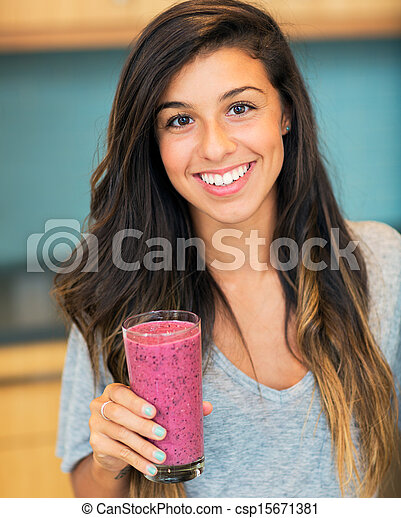Woman with Fruit smoothie  - csp15671381