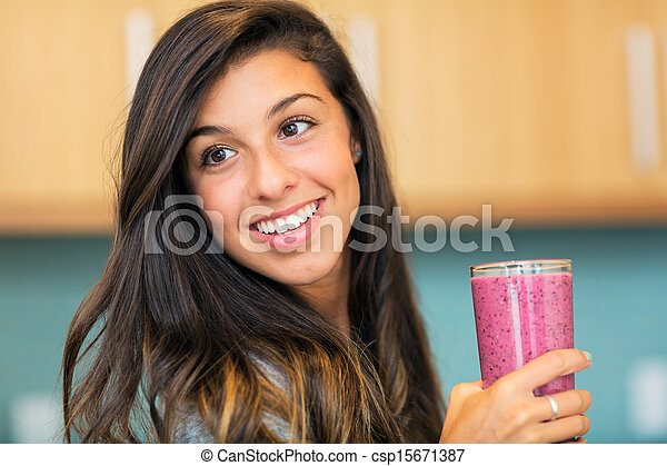 Woman with Fruit smoothie  - csp15671387