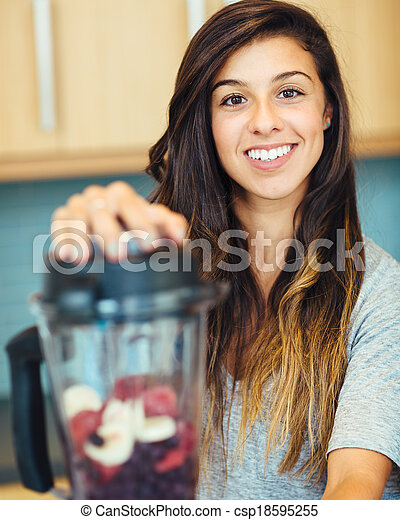 Woman with Fruit smoothie - csp18595255