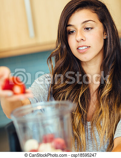 Woman with Fruit smoothie - csp18595247