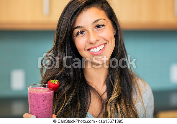 Woman with Fruit smoothie  - csp15671395