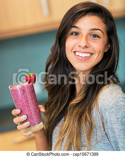Woman with Fruit smoothie  - csp15671399